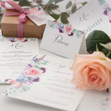 Poročna vabila - komplet poročnih tiskovin MODERN FLOWER.